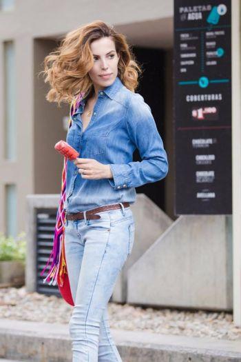 Camisa de jean azul